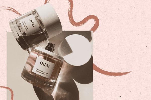 perfume bottles on designed background