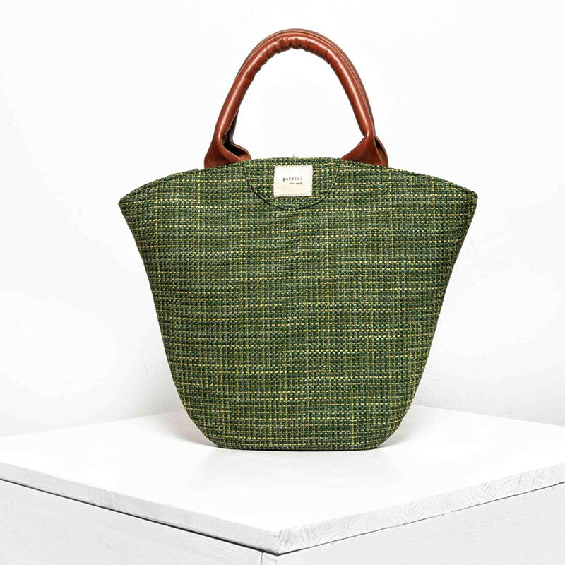 Tulip Medium Raffia Green Bag