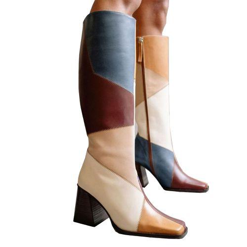 Alohas North Blue Geometric Patchwork Boots
