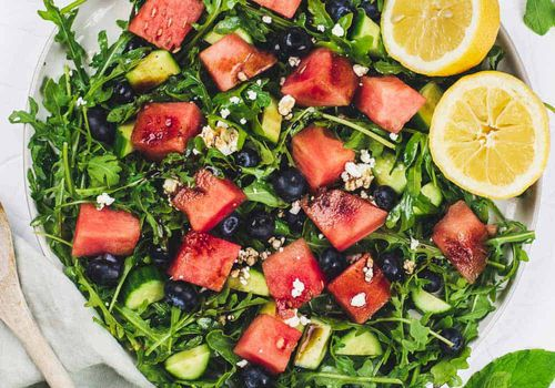 Watermelon, blueberry, and arugula salad