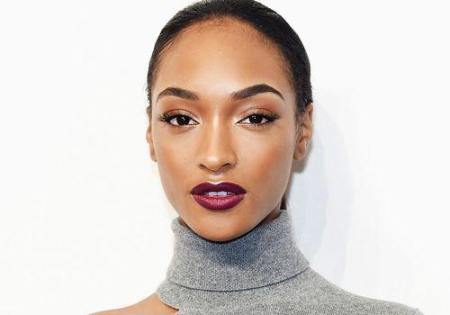 jordan dunn bronze smokey eye and magenta lipstick