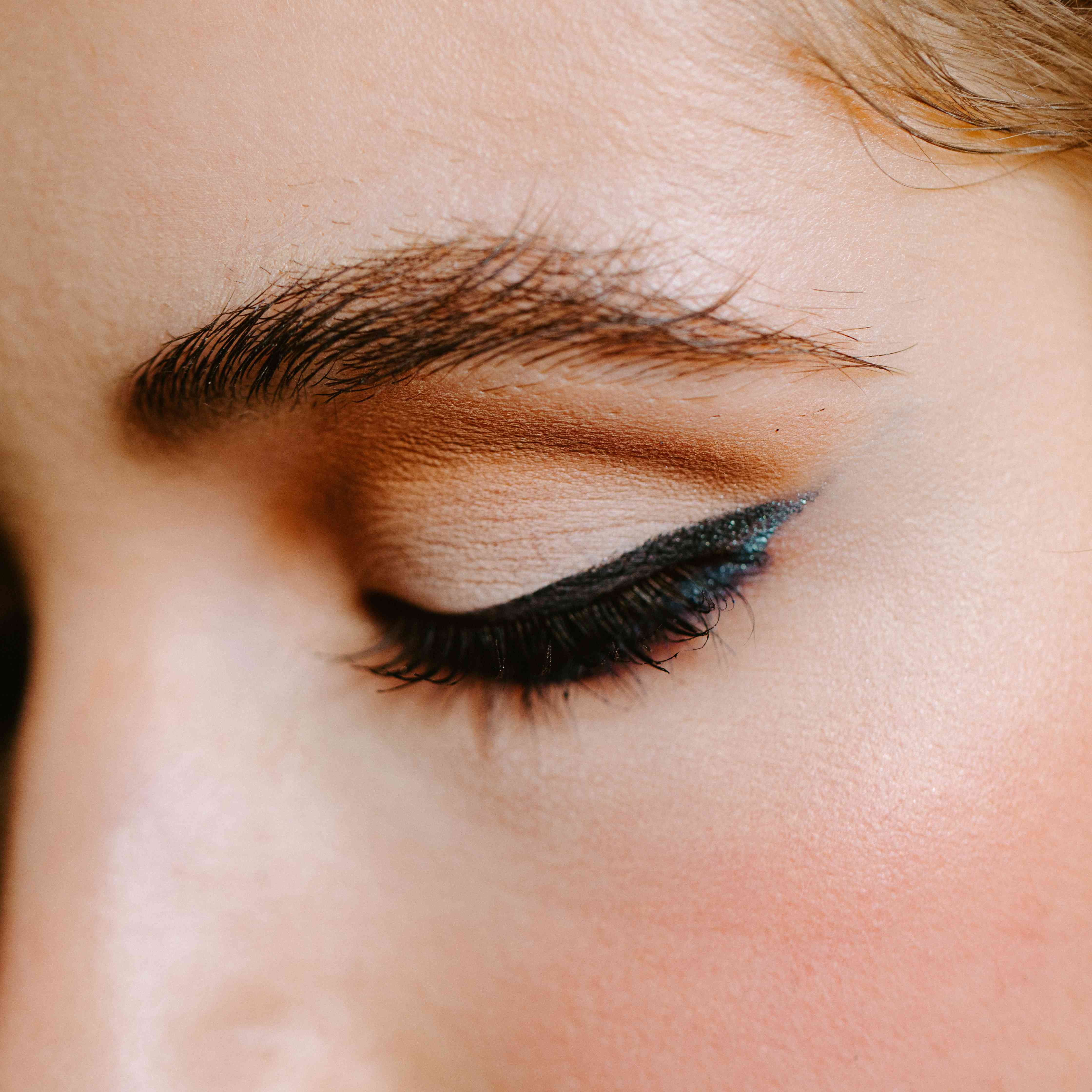 close-up of woman's eyeliner