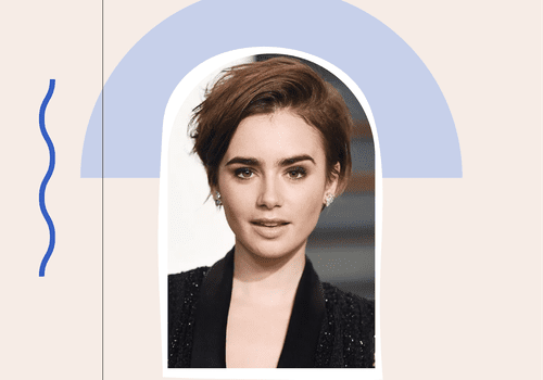 Lily Collins with a pixie hair cut
