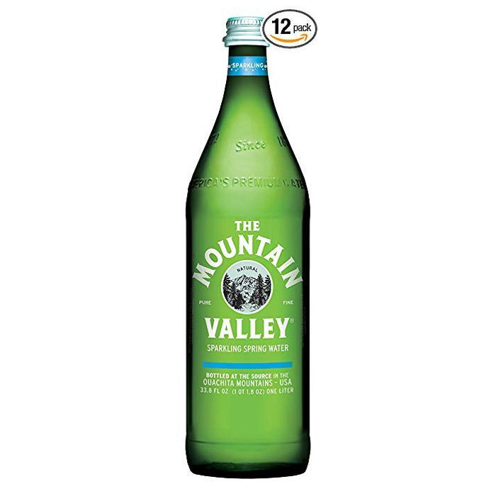 A bottle of The Mountain Valley mineral water.