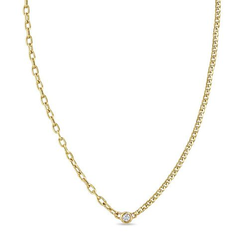 14K Floating Diamond Mixed XS Curb Chain & Small Square Oval Chain Necklace ($615)