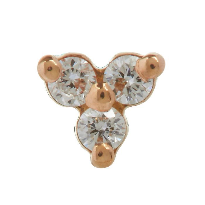Maria Tash Diamond Trinity Threaded Stud Earring