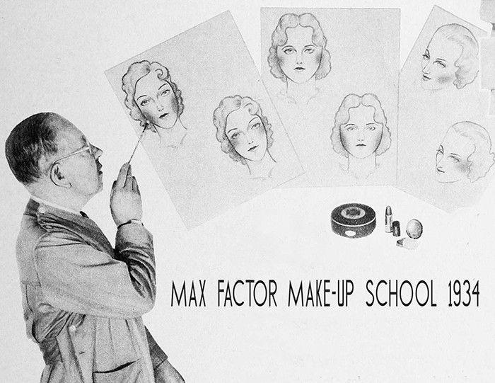Advertisement for Max Factor Makeup School