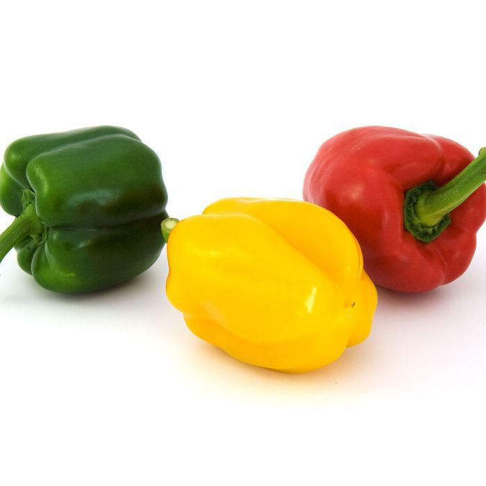 Green pepper, yellow pepper, and red pepper