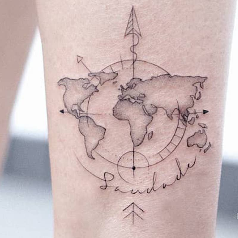Compass Tattoo Inspiration Map with Script