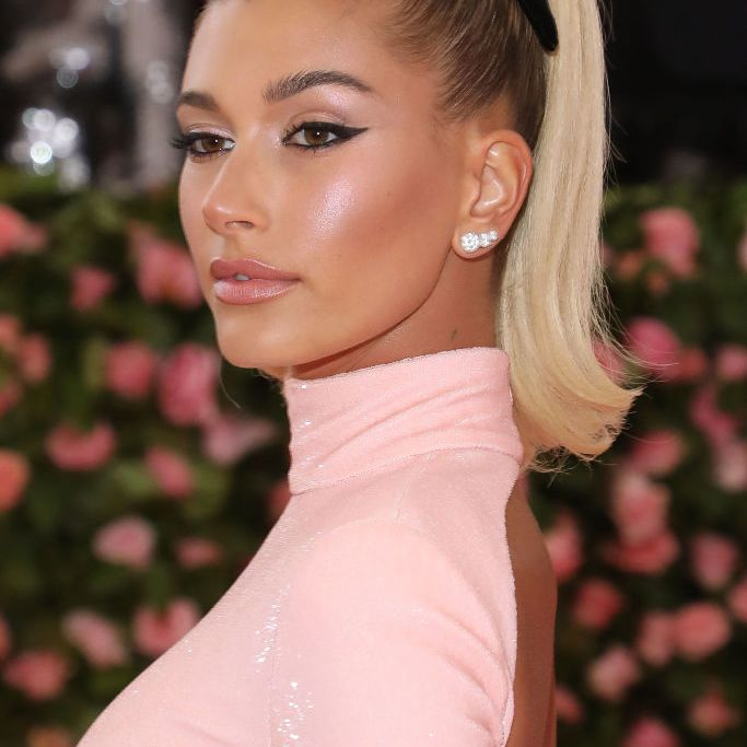Hailey Bieber with a mile-high ponytail