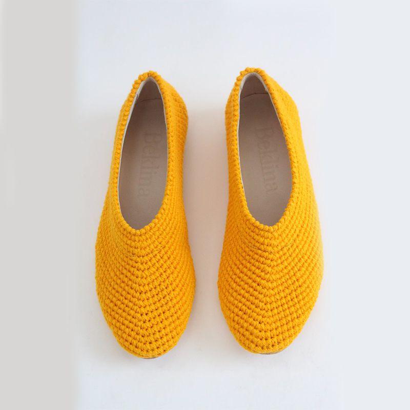 Crochet Ballet Flats Turmeric