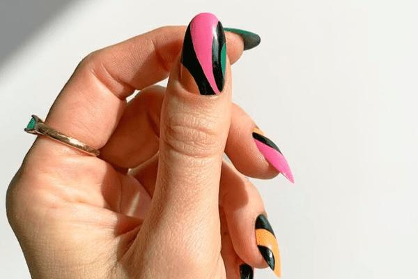 pink and black manicure design