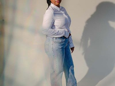 model in tailored jeans