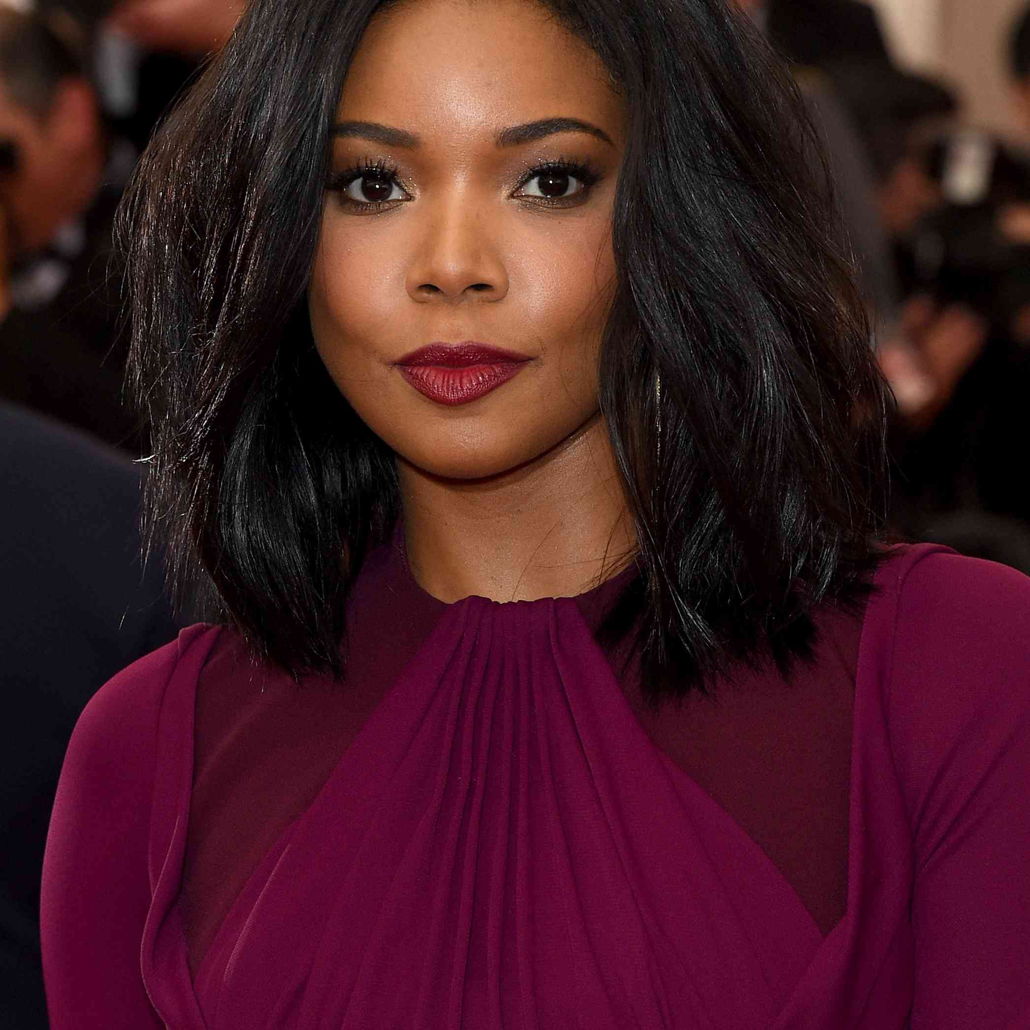 Gabrielle Union full lob with berry lipstick