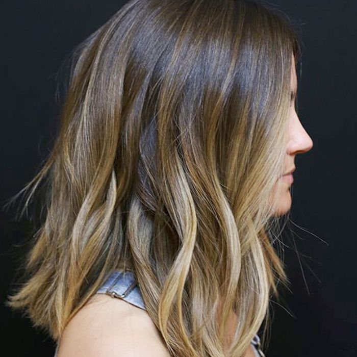 lowlights for brown hair: lob