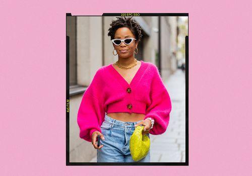 Woman wearing pink sweater