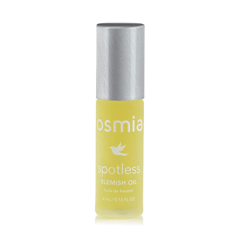 Bottle os Osmia Spotless Blemish Oil on a white background.