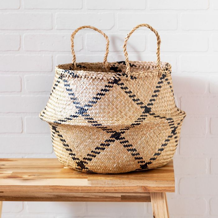 eco products: Natural & Black Rice Woven Storage Basket