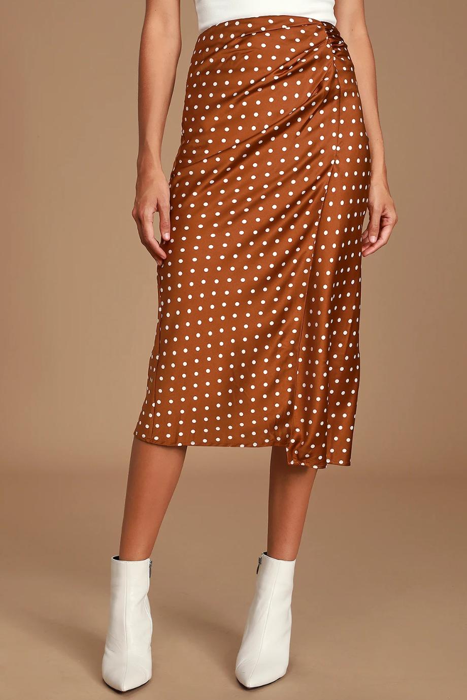 Andee Rust Brown Polka Dot Midi Skirt