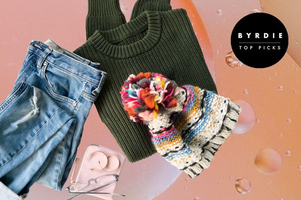 Photo composite of jeans, a sweater, a hat, and accessories.
