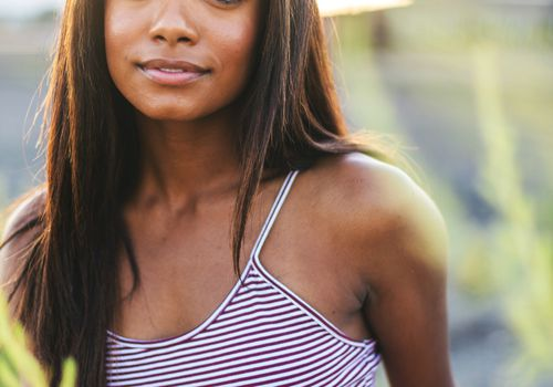 Young Black Woman with Straight Hair