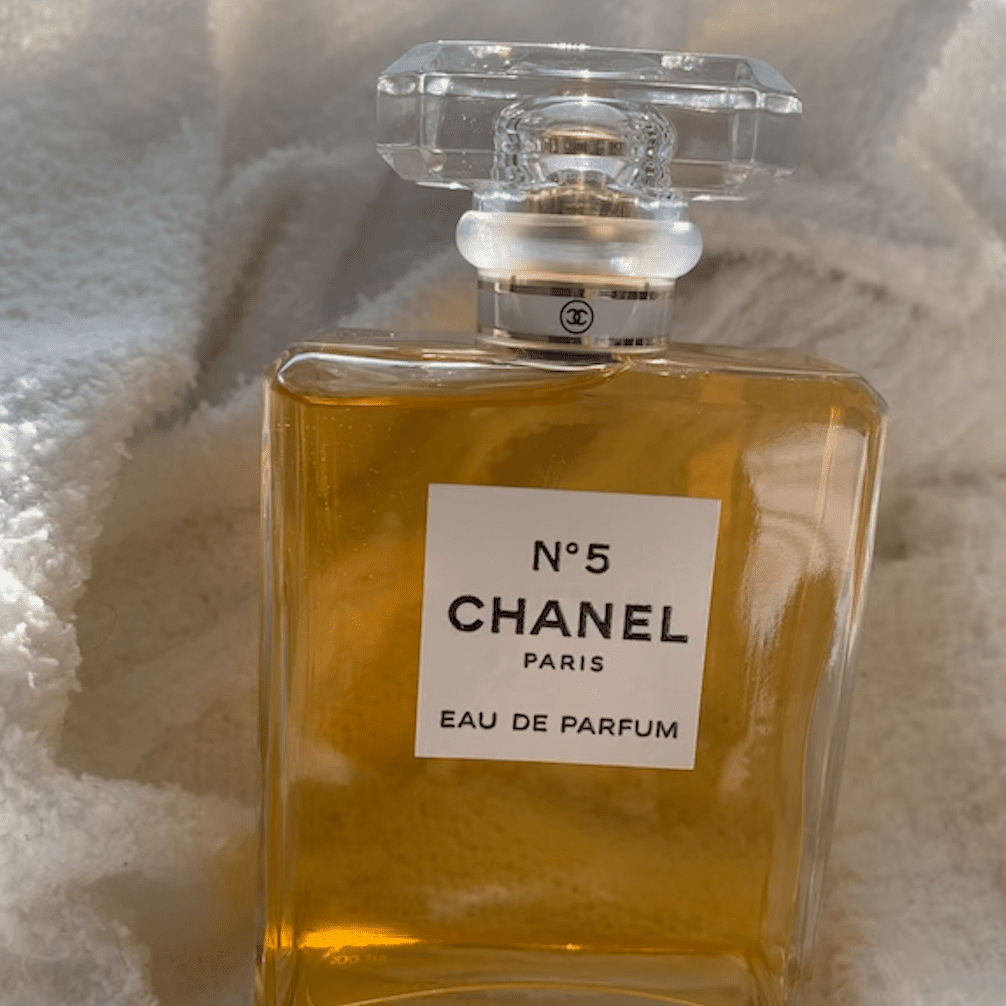 chanel no 5 on white background