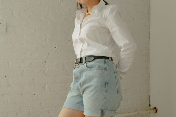 model in denim shorts