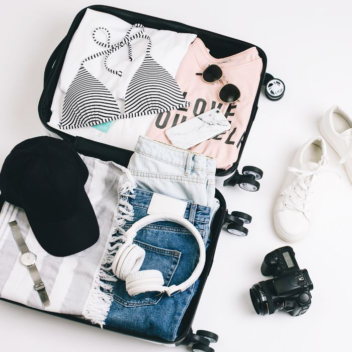 best travel kits: Packed suitcase