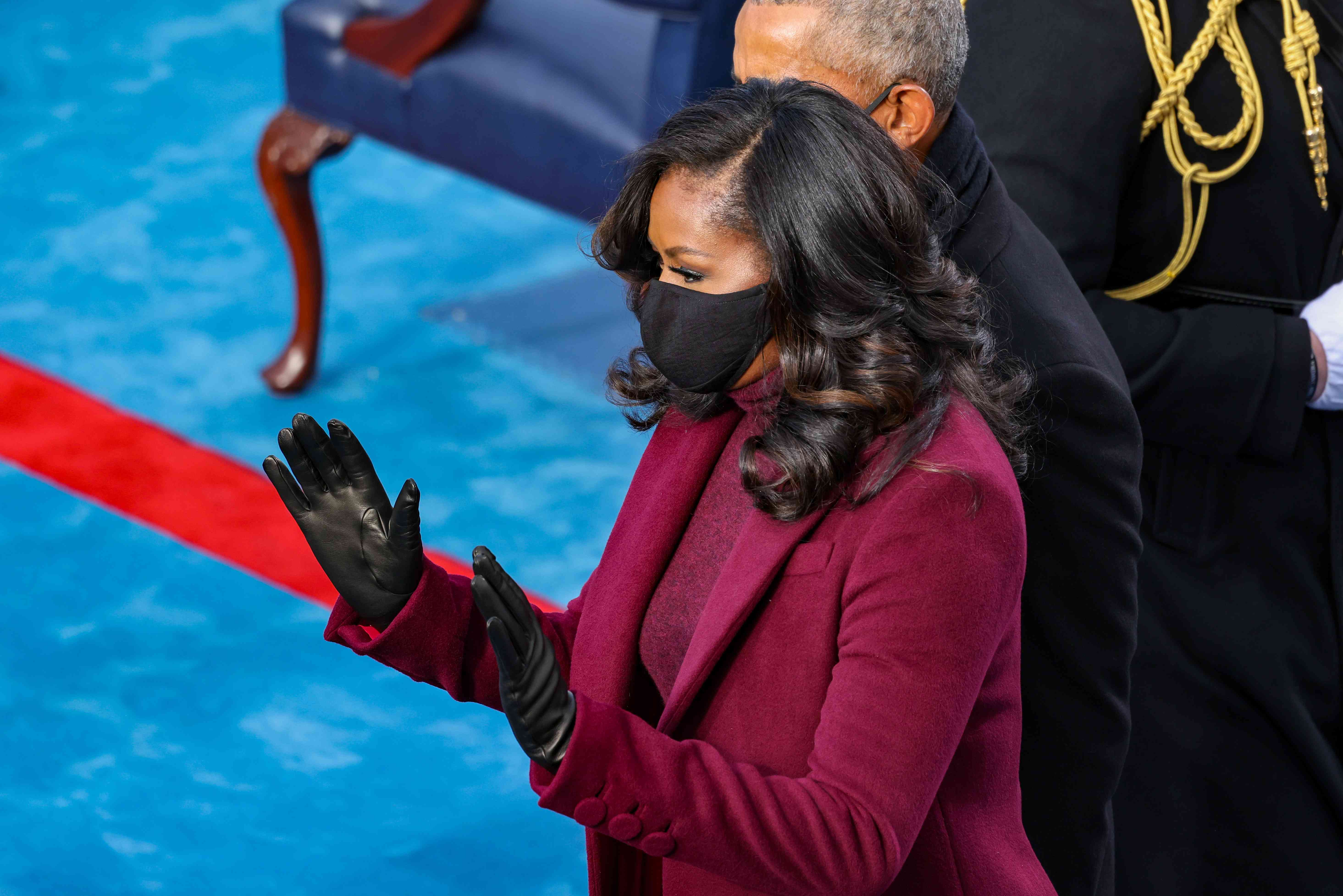 Former U.S. President Barack Obama and former first lady Michelle Obama arrive to the inauguration of U.S. President-elect Joe Biden on the West Front of the U.S. Capitol on January 20, 2021 in Washington, DC.