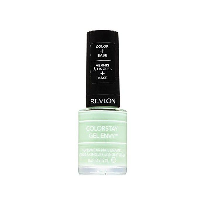 Bottle of light green nail polish with a black top.