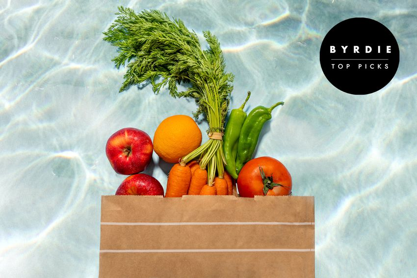 Photo composite of fresh produce spilling out of a paper bag