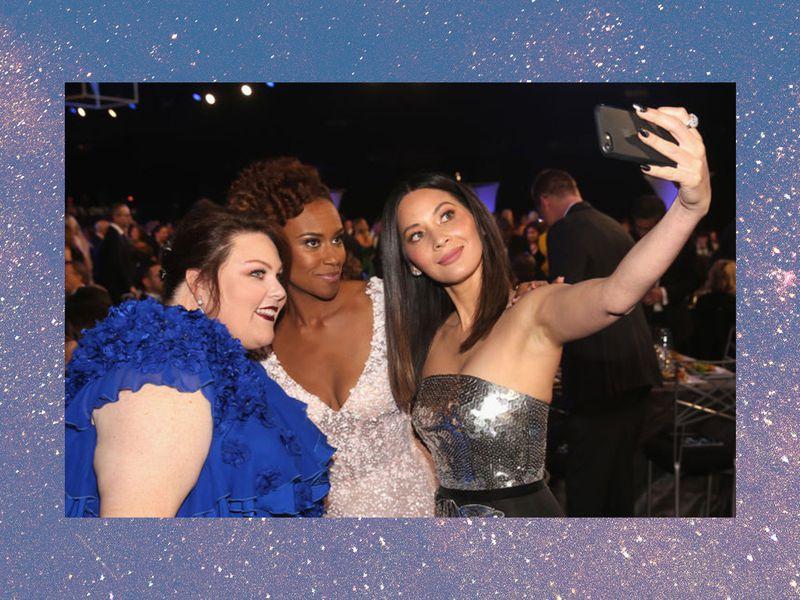 Actors Chrissy Metz, Ryan Michelle Bathe and Olivia Munn take a selfie