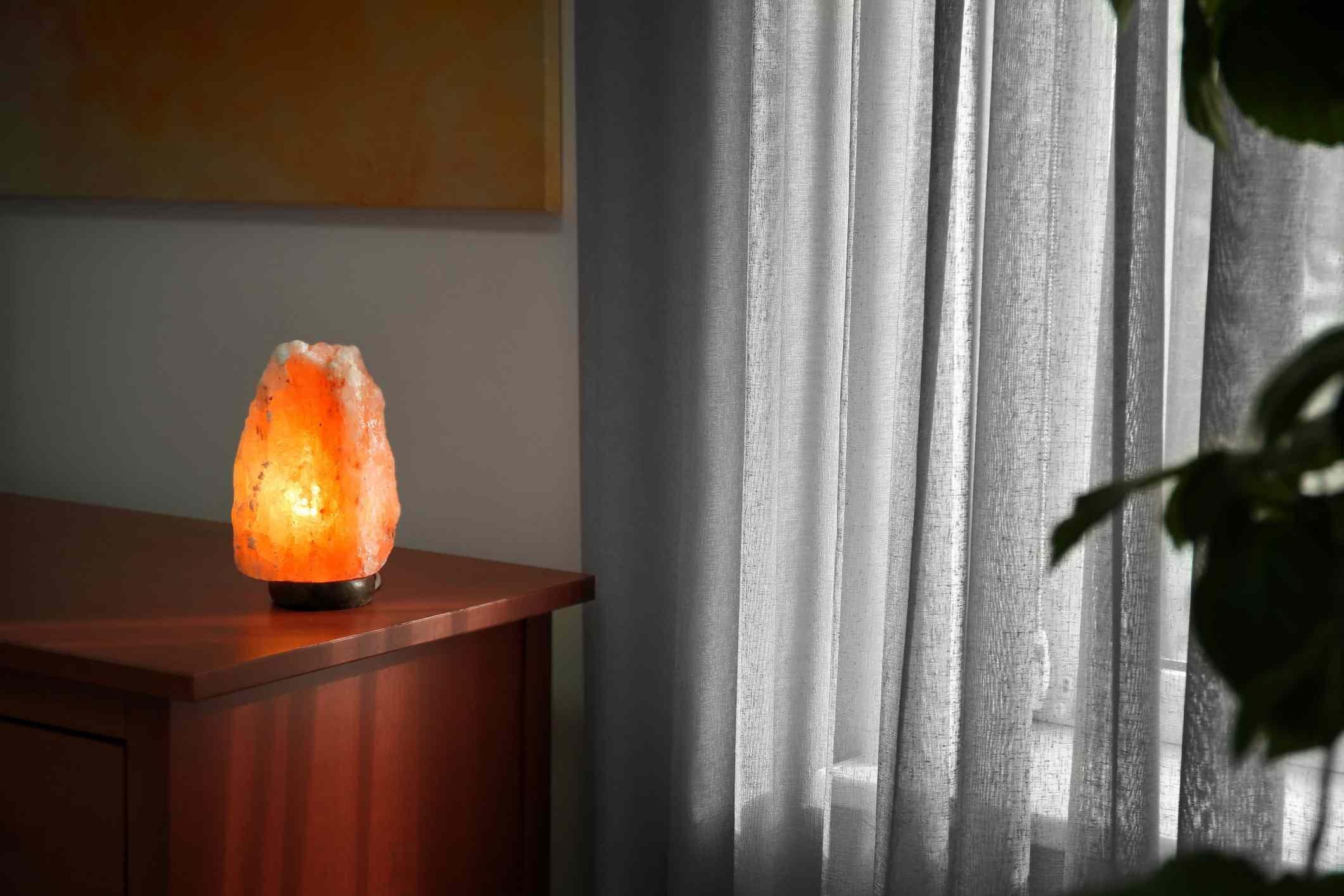 salt lamp on dresser