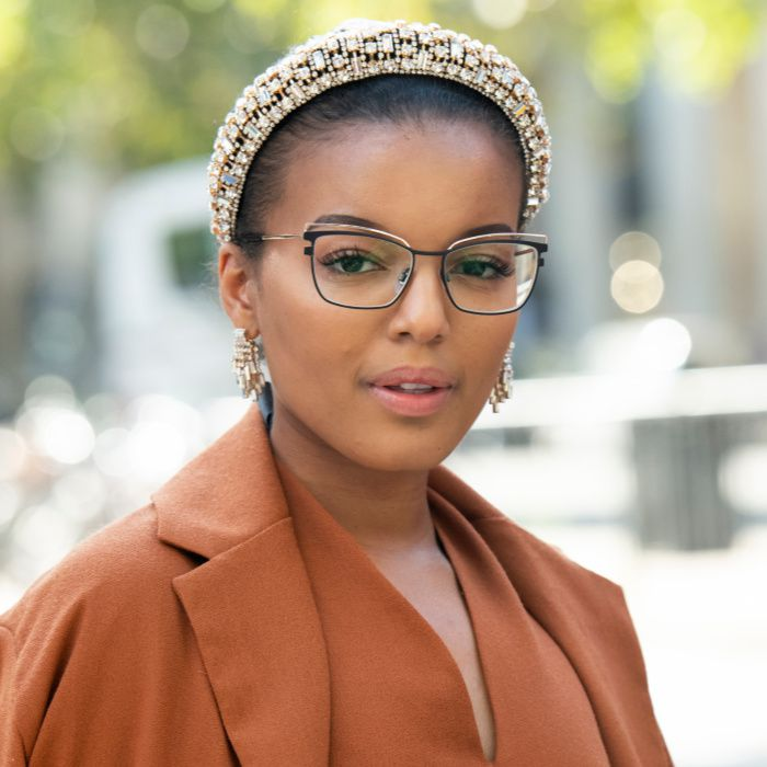 Woman wearing embellished headband