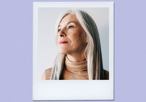 woman with long silver hair
