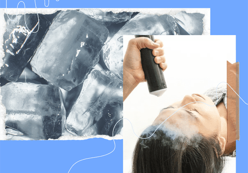 ice cubes and woman getting a cryofacial