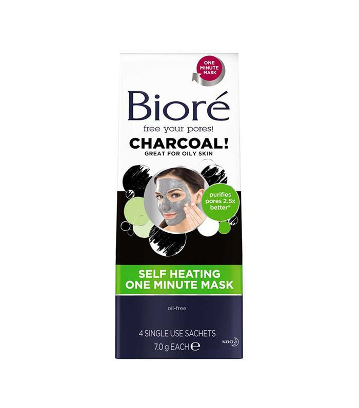 Biore Self Heating One Minute Mask, .25 oz each, 4 Count