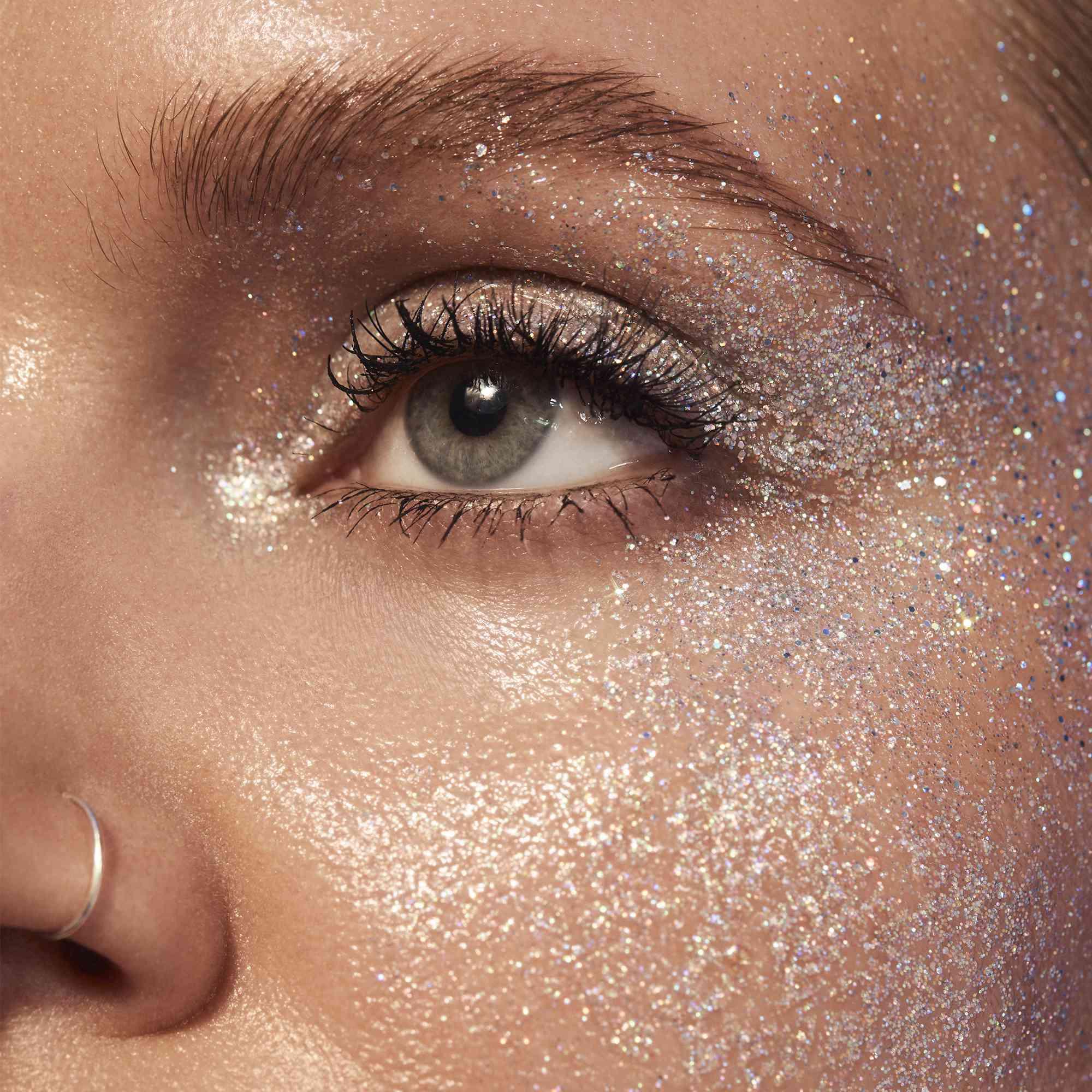 woman wearing glitter