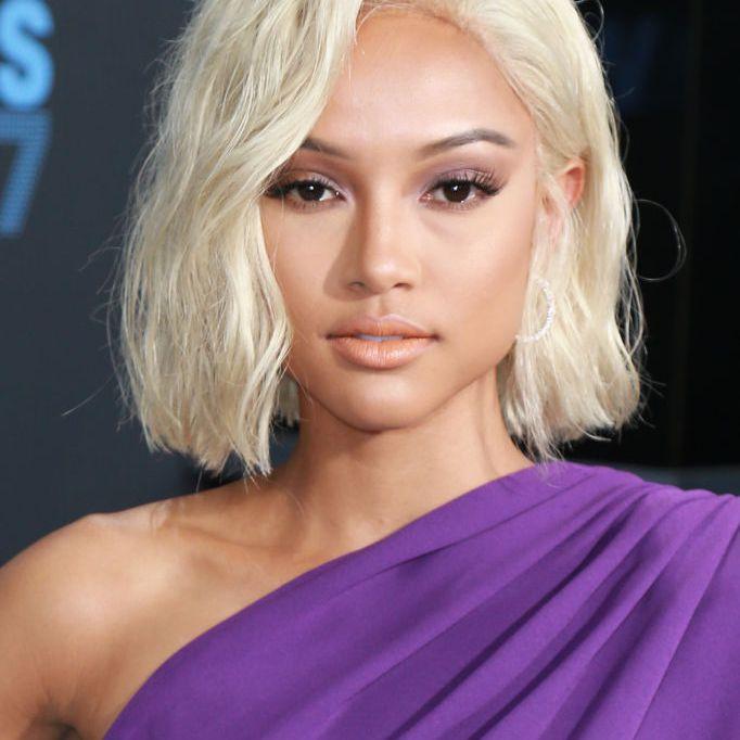 Karrueche Tran textured platinum blonde bob