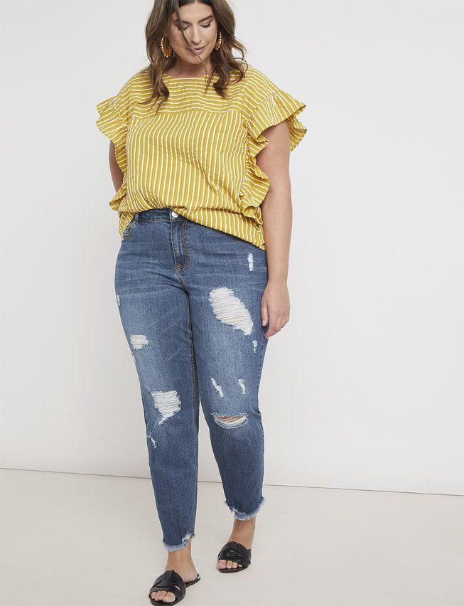 Eloquii Classic Fit Distressed Boyfriend Jeans