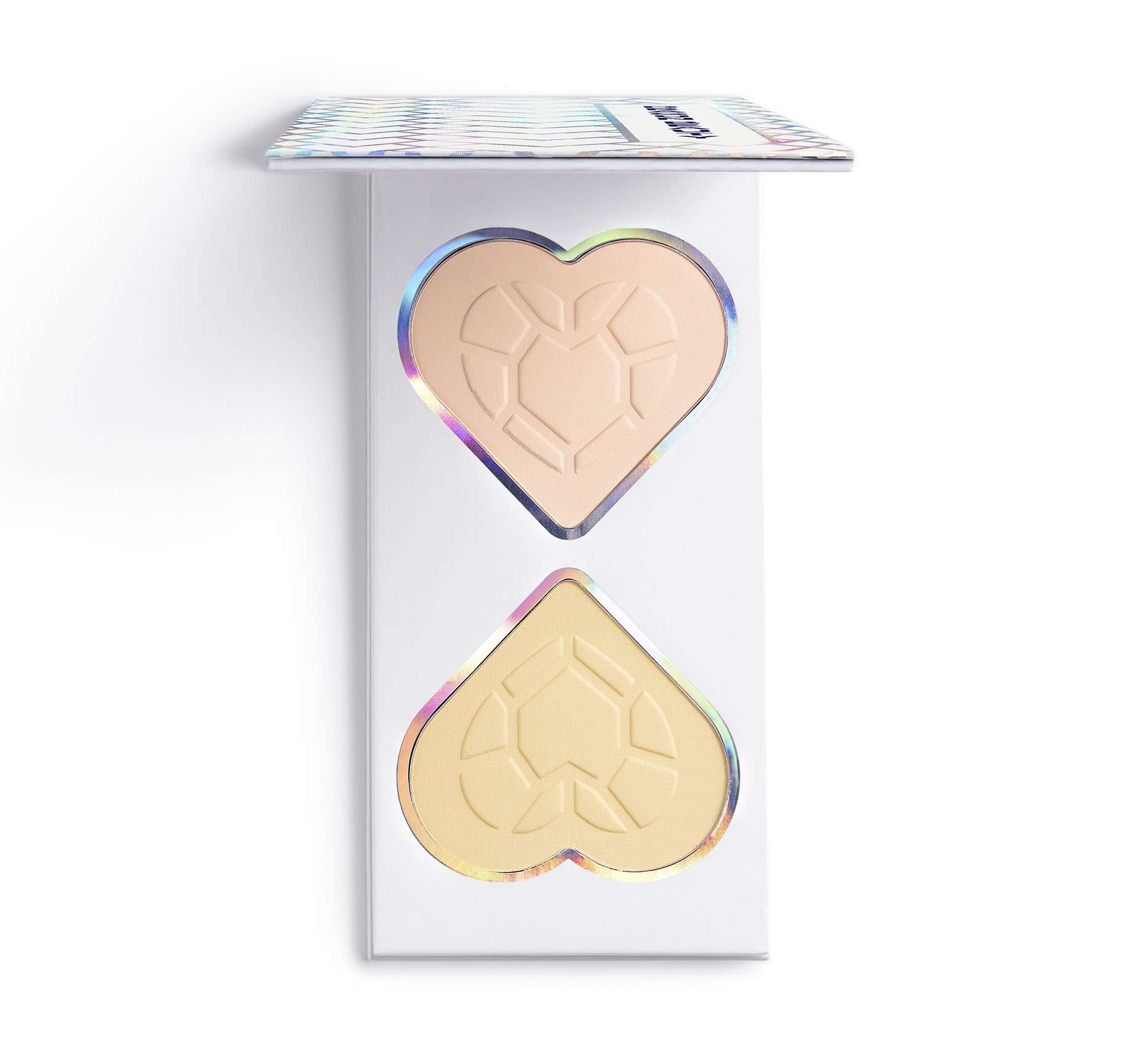 white palette with tan heart-shaped palette