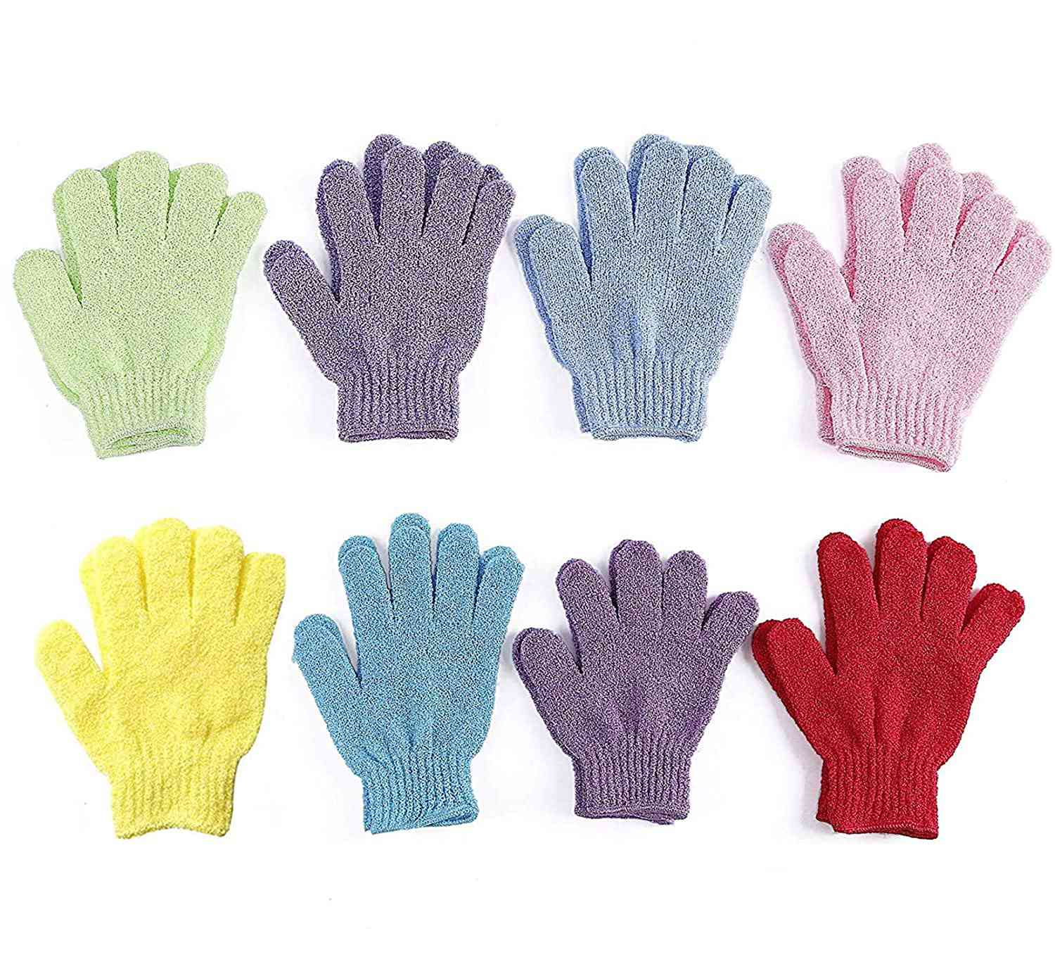 Mooerca Double-Sided Exfoliating Gloves, 8 Pairs