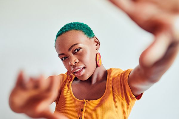 young person with blue hair