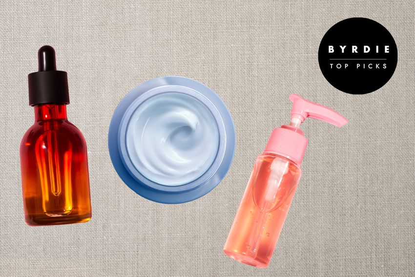 Photo composite of a serum bottle, jar of cream, and soap dispenser