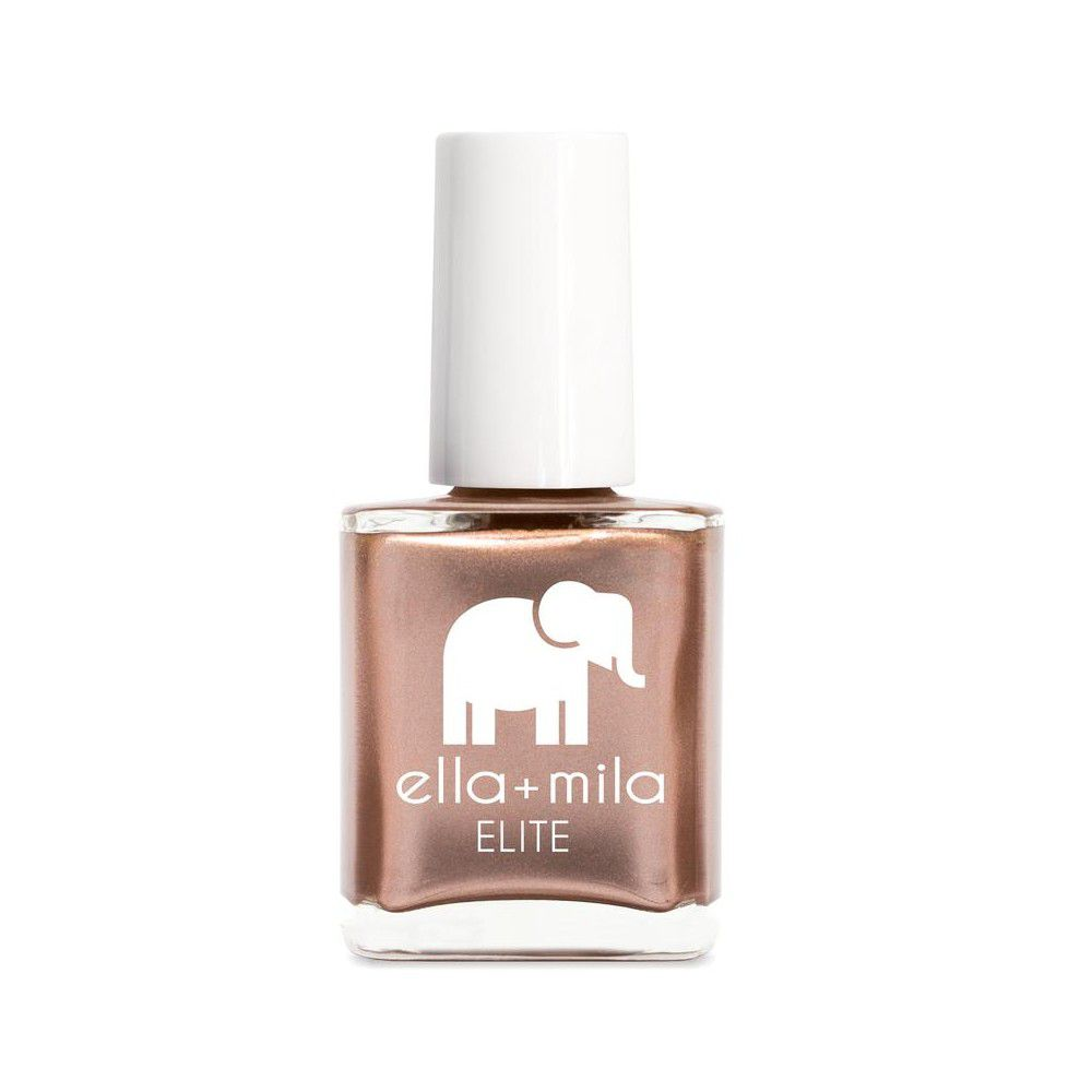 Bottle of metallic rose gold nail polish on a white background.