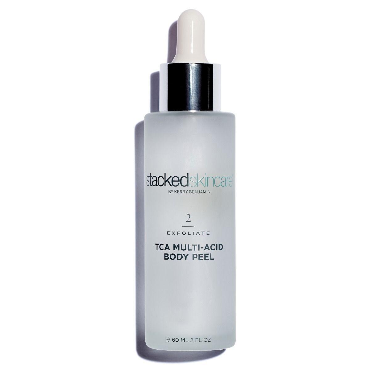 Translucent skincare dropper bottle on a white background.