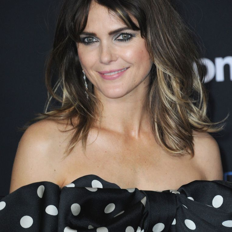 Keri Russell mid-length hair with curtain bangs