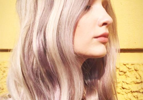 Woman with pastel colored hair