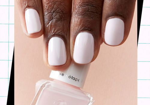 woman with nude gel manicure