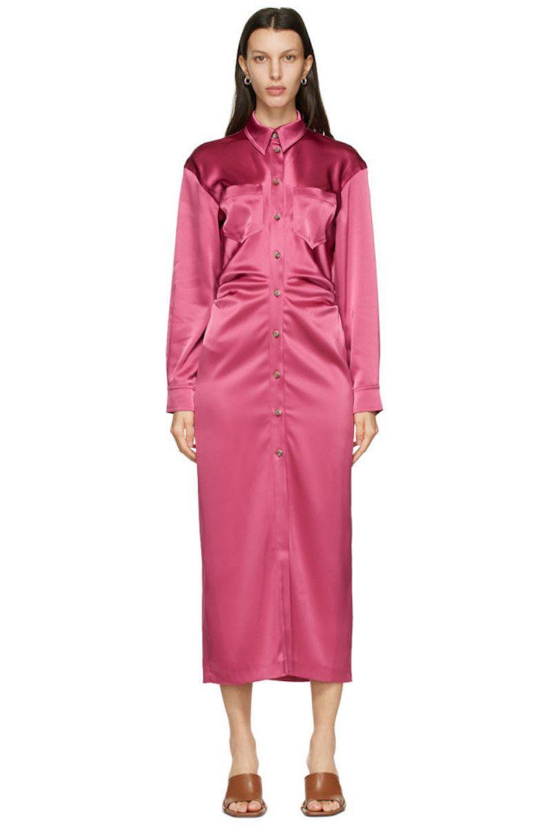 Nanushka Pink Satin Kinsley Dress